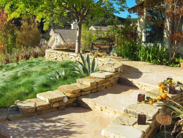 go back to classic with this traditional rustic landscaping and beautiful front yard retaining wall