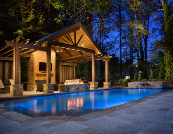 wood cabana for a traditional looking pool house with bathroom and stylish pergolas