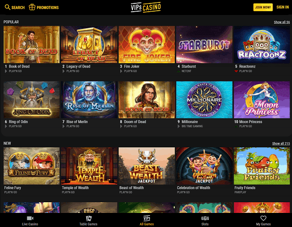 VIPS Casino Website Review Page
