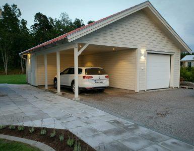 Fasadbelysning på garage och carport