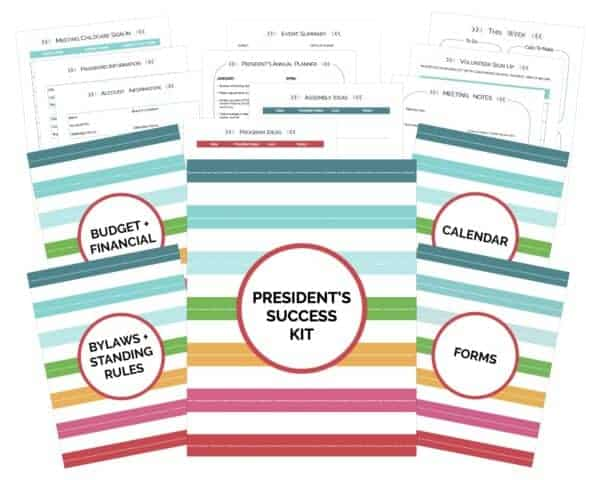 pTO PTA Presidents Success Kit. Rainbow themed planner to organized your life as President.