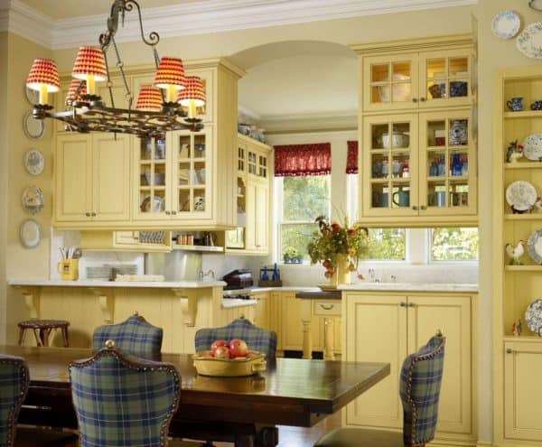 french breakfast room and kitchen featuring banana cabinets and carolina upholstery