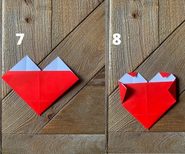 steps 7 and 8 for easy origami heart