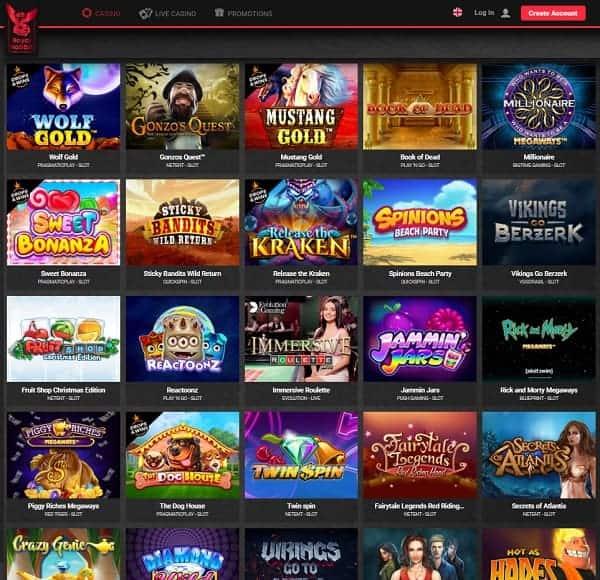Royal Rabbit Casino snapshot of the homepage