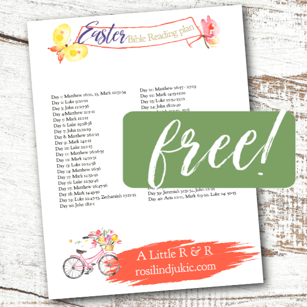 Join me in a 40-day journey of studying and meditating on Jesus' final days on earth with this free 40 Day Easter Bible Reading Plan.#alittlerandr #easter #Jesus #bible #readingplan #quiettime #warroom