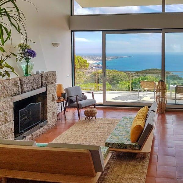 fireplace ocean view