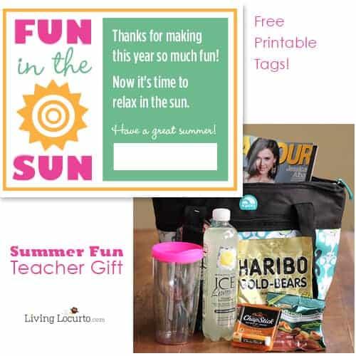 Teacher Gift Idea - Summer Fun Tote Bag with Free Printable Tags. LivingLocurto.com