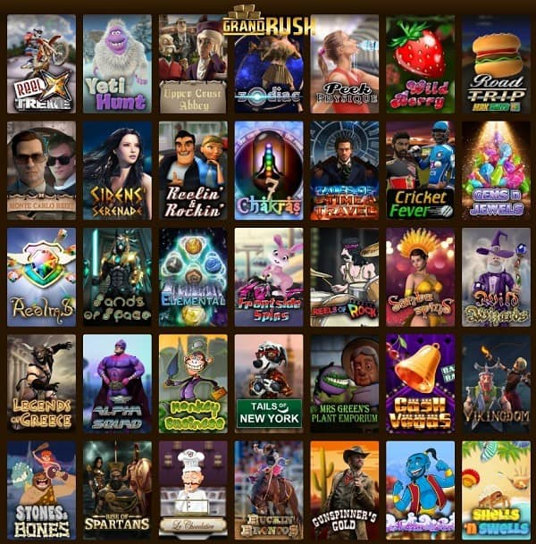 Grand Rush Casino 50 free spins + 200% bonus + $1,000 free chip