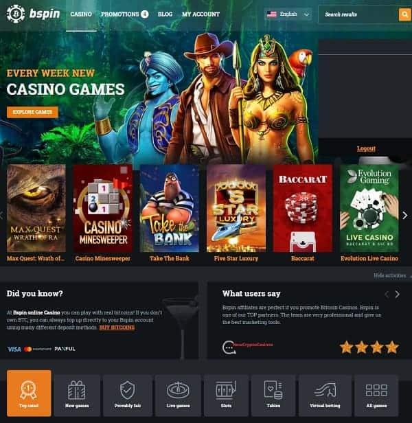 Bspin.io Casino Free Spins Bonus