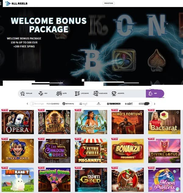 All Reels Casino 200 Free Spins Bonus