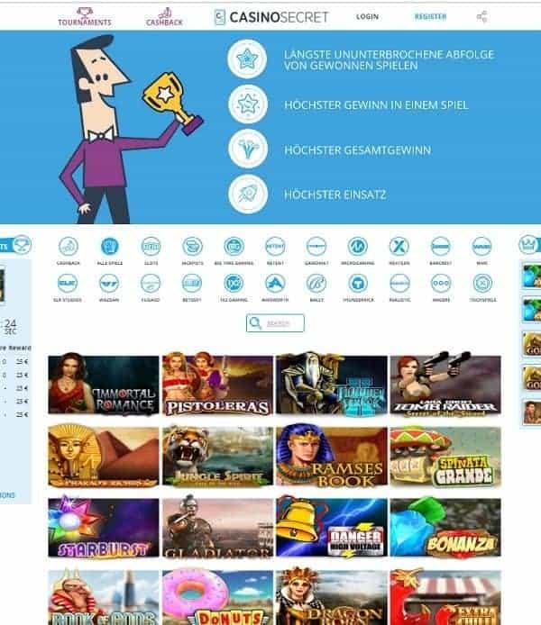 CasinoSecret.com Freispiele und Cashback