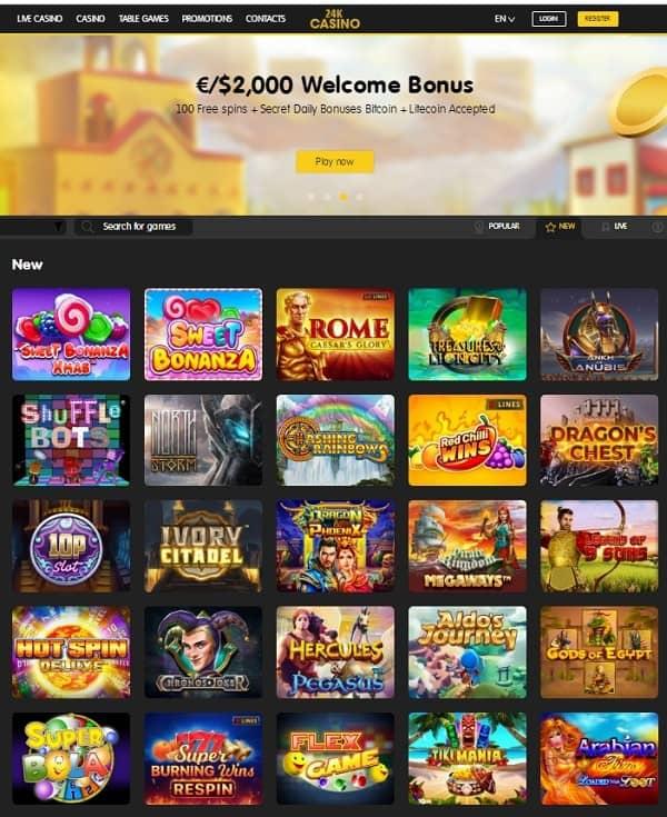 24KCasino free spins bonus