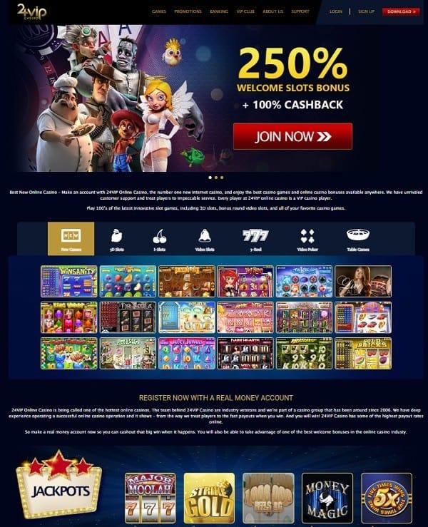 24 VIP Casino Review Screen
