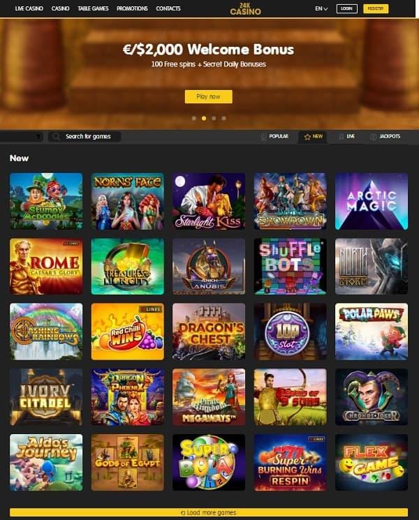 24KCasino.com Review (homepage)