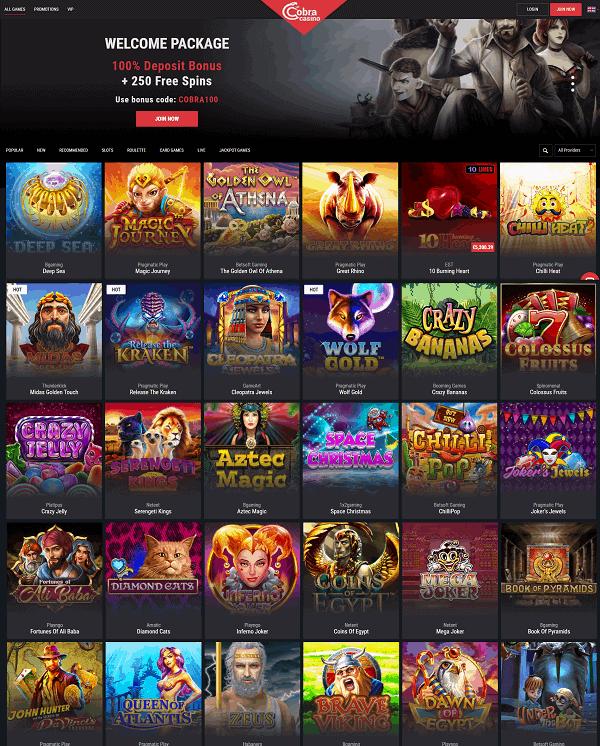 Cobra Casino Overview - free spins, bonus codes, promotions