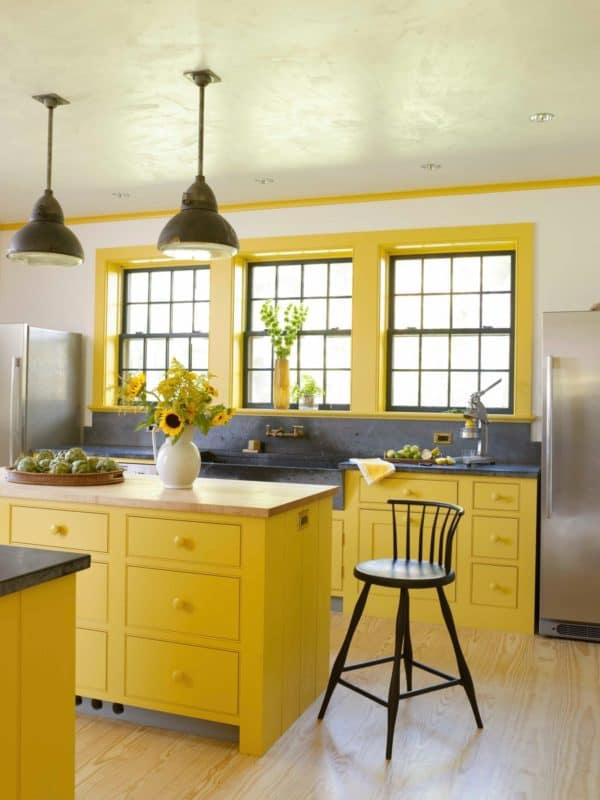 combine space blue and royal yellow for a unique and new farmhouse kitchen