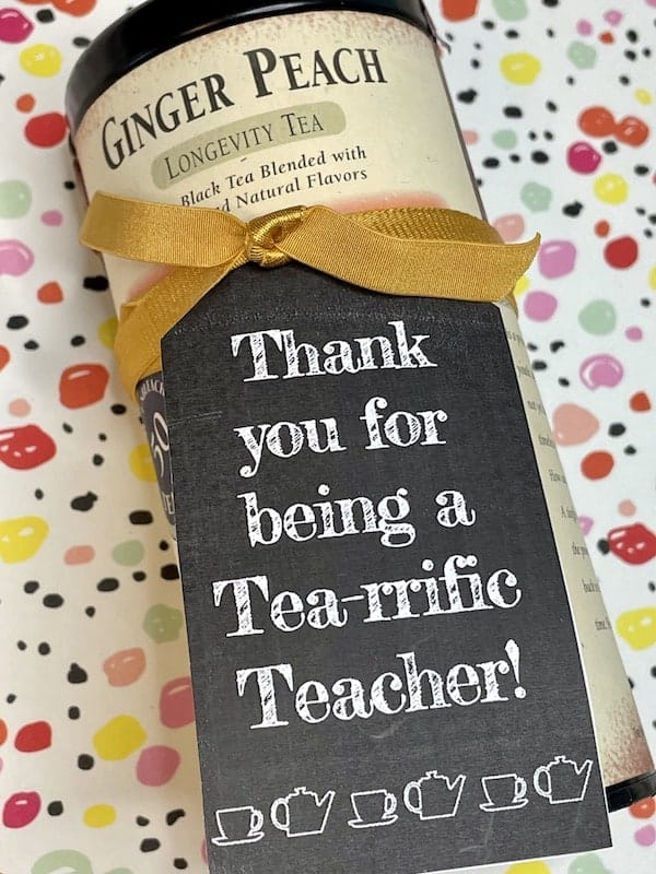 Thank You for Being a Terrific Teacher Tea Themed Printable Gift Tag