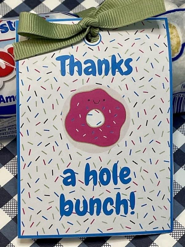 printable doughnut thank you gift tag