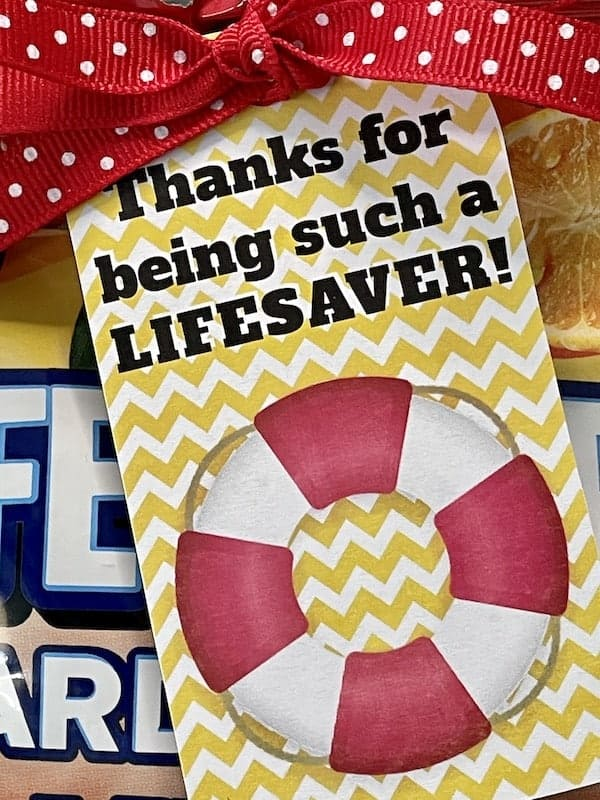 Thanks for being a Lifesaver Appreciation Printable Gift Tag
