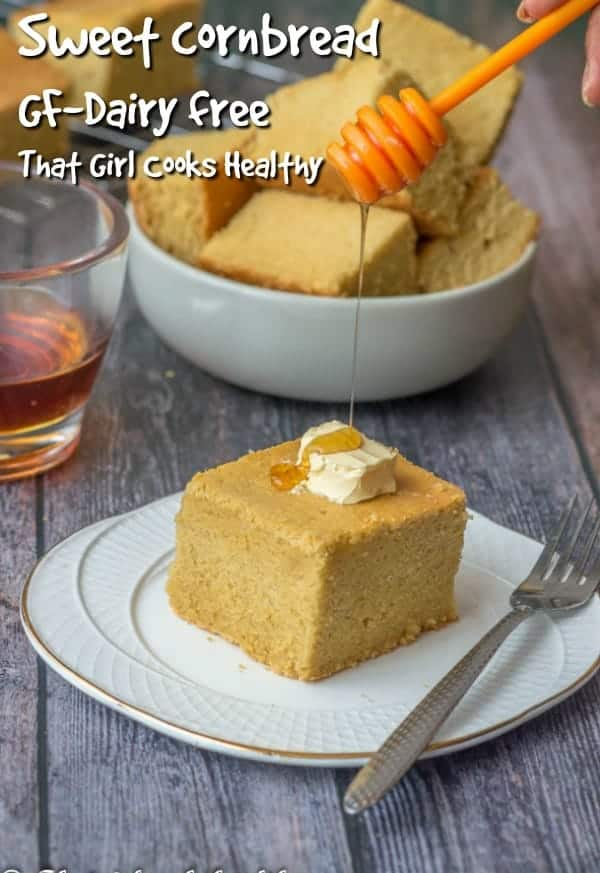 Sweet gluten free and dairy free cornbread, so moist with a hint of sweetness and delcious. Great crowd pleaser or a thanksgiving side dish.