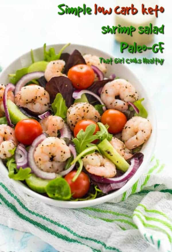 A summertime simple low carb keto shrimp salad that's great for weightloss