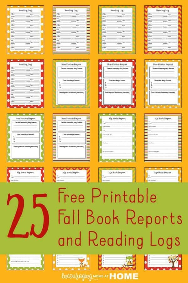 Take a look at these autumn themed logs and book report forms for your avid readers.
