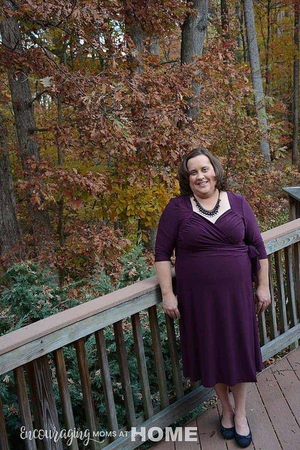 Amy in wrap dress from Kiyonna