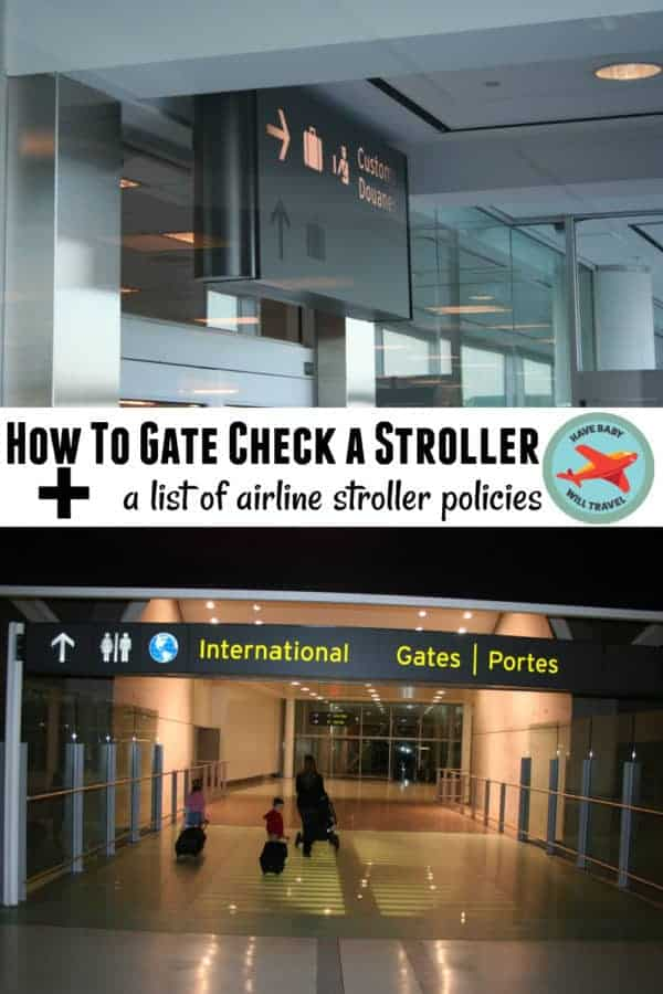 Instructions on how to gate check a stroller and a list of all the airline stroller policies