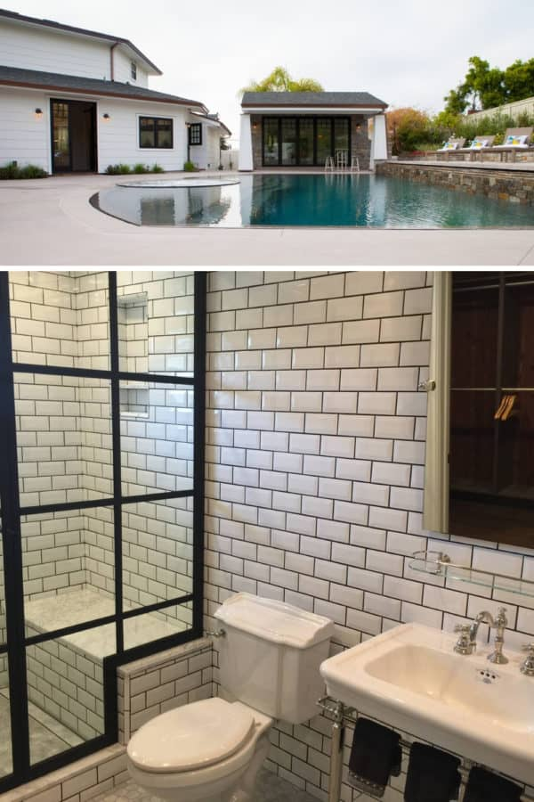 consider a custom pool shape with natural stone and a pool house with modern black and white bathroom