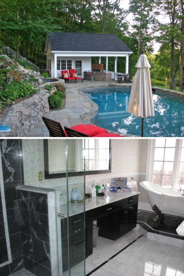 use natural stone and a beach style pool house with eclectic bathroom for a beautiful backyard