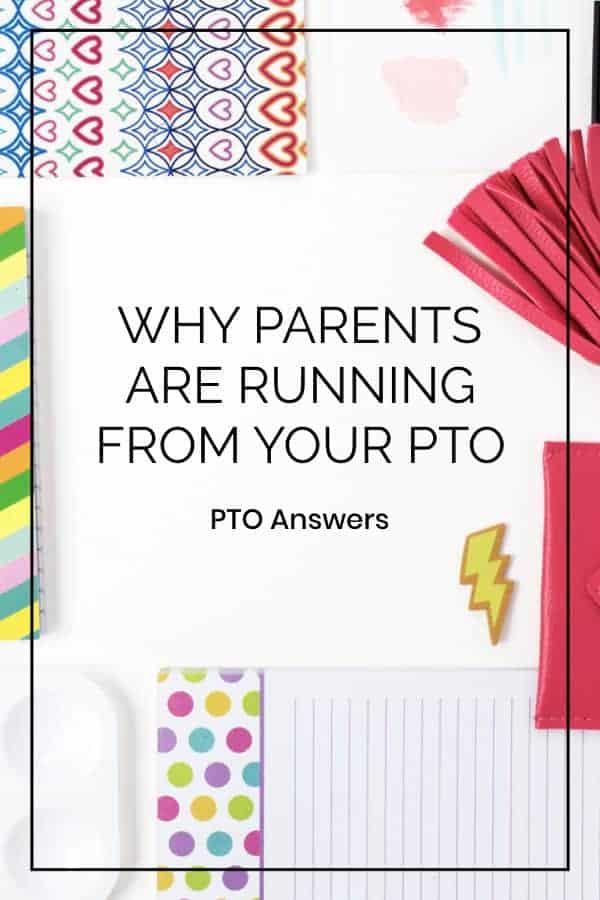 Parent engagement tips from PTO Answers on desk of brightly colored office supplies