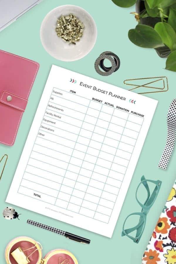 Event budget planner printable on colorful desktop