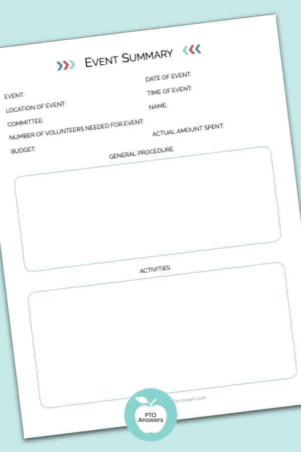printable pto event summary form