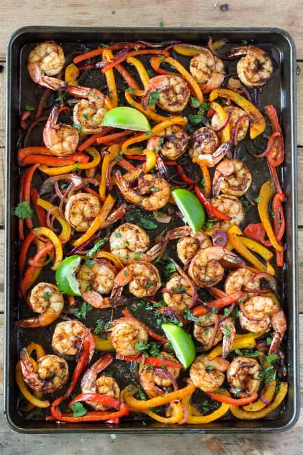 Favorite Sheet Pan Dinner Recipes | Easy One Pan Meals. Sheet Pan Shrimp Fajitas by http://www.number-2-pencil.com