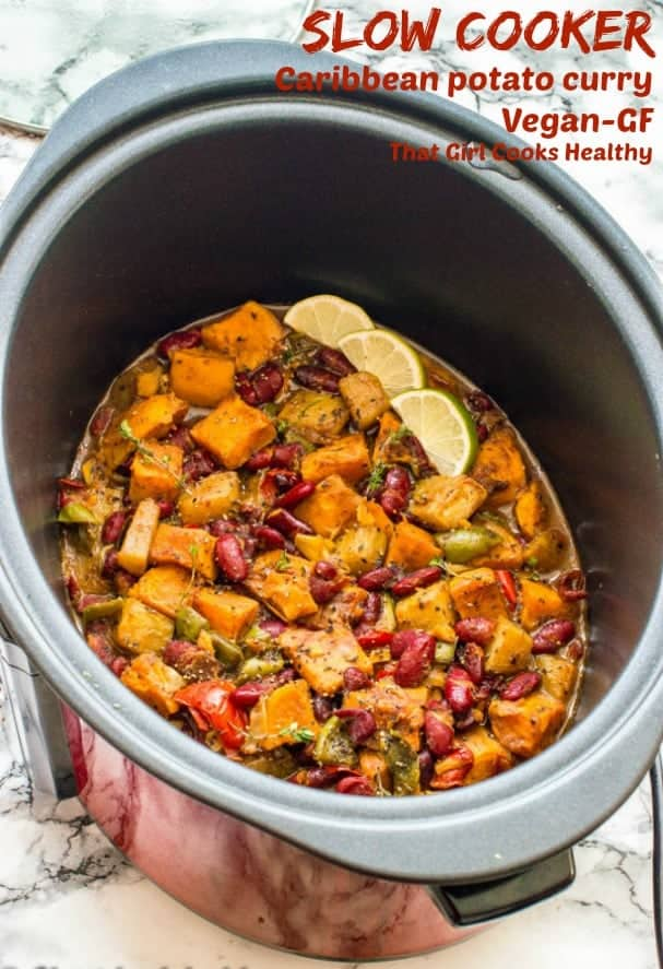 This delicious healthy vegan Caribbean potato curry is great for week nights to impress your dinner guests with a taste of the tropics.