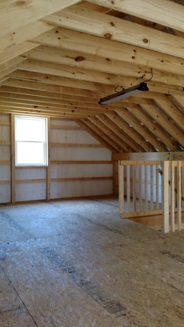 the loft right under the pole barn roof