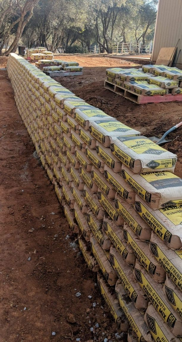 residential retaining wall from Sakrete Concrete Mix bags,jpg