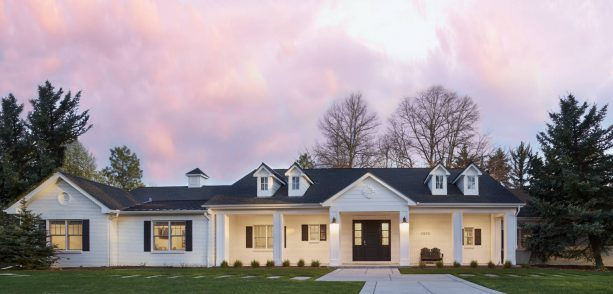 classic and elegant white brick ranch house exterior