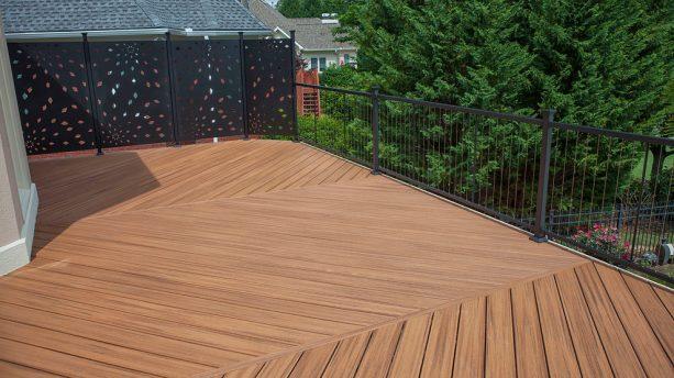 black-colored metal screen as deck railing pair