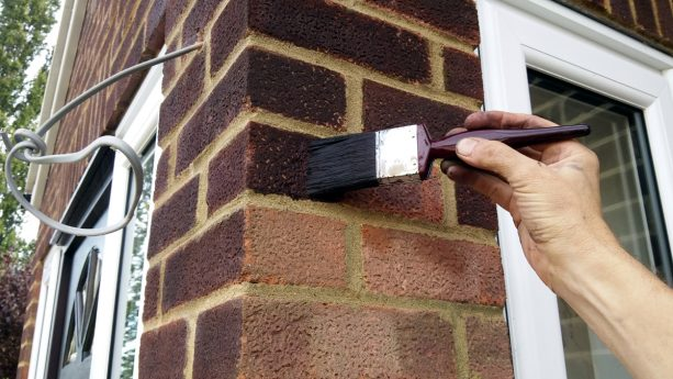 brick-staining on exterior walls