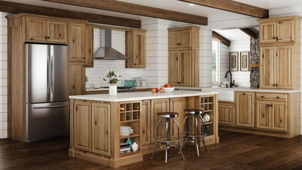 a modern feel in a kitchen with hickory cabinets and dark wood floors