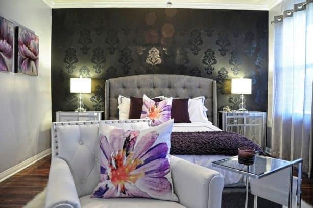 glamor and feminine purple and grey bedroom
