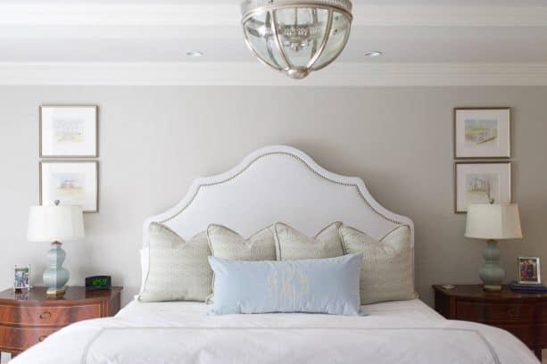 transitional master bedroom with Sherwin-Williams repose gray SW 7015 warm gray paint color