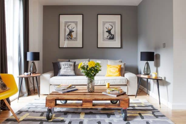 small transitional living room with grey and mustard theme