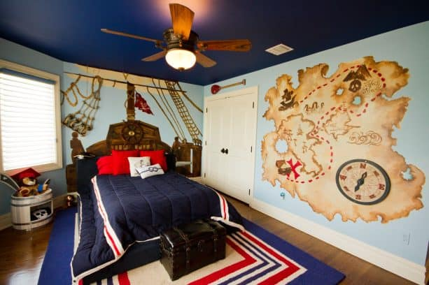 navy blue bedroom with white accents