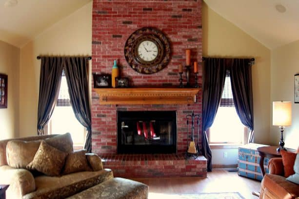 the new fireplace look after getting stained