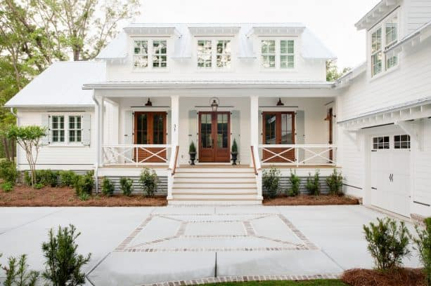 a crisp and refreshing farmhouse exterior with Pure White SW 7005 paint