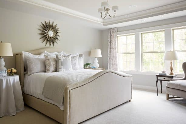 traditional bedroom with Sherwin-Williams agreeable gray SW 7029 wall paint color