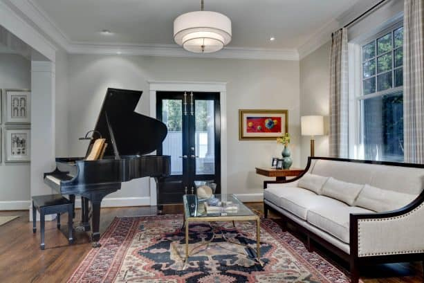 traditional living room with Sherwin-Williams agreeable gray SW 7029 wall paint color