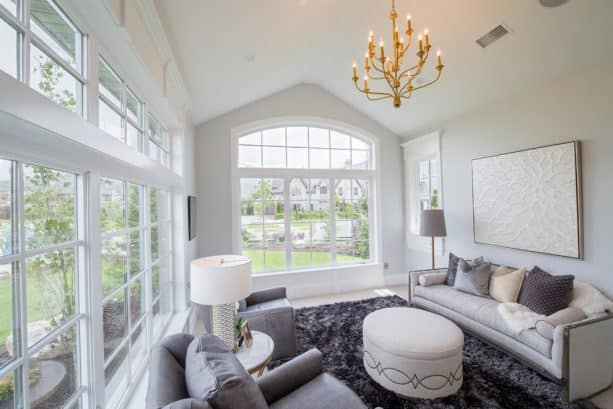 transitional sunroom with Benjamin Moore wickham gray HC-171 wall paint color